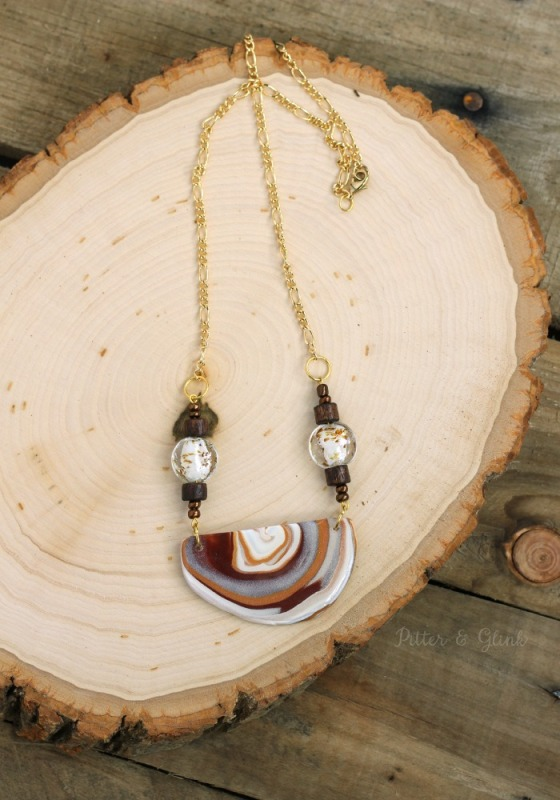 Picture Of beautiful diy faux agate polymer clay necklace  2