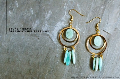 Boho Chic DIY Stone And Brass Dreamcatcher Earrings