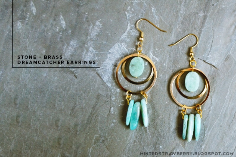 Picture Of boho chic diy stone and brass dreamcatcher earrings  1