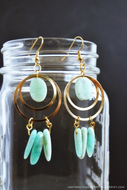 Boho Chic DIY Stone And Brass Dreamcatcher Earrings