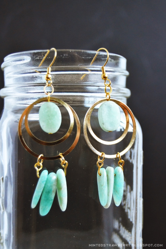 Picture Of boho chic diy stone and brass dreamcatcher earrings  2