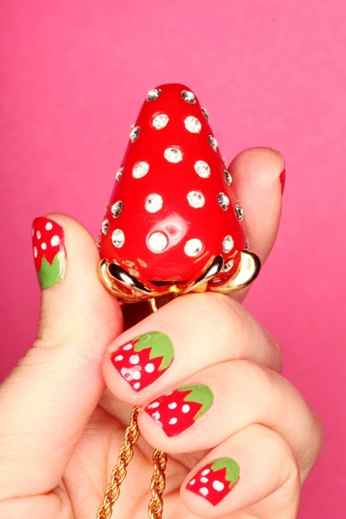 Bright And Perfect For Summer DIY Strawberry Nail Art