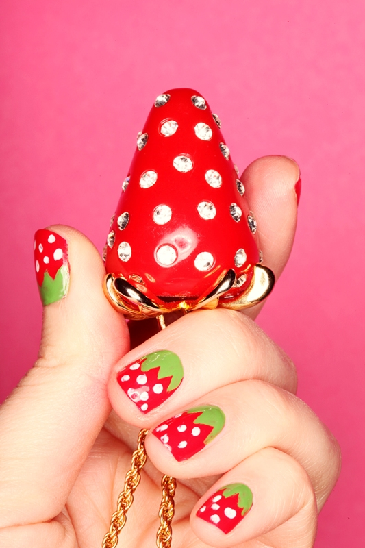 Picture Of bright and perfect for summer diy strawberry nail art  1
