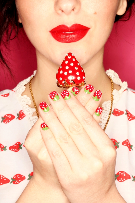 Picture Of bright and perfect for summer diy strawberry nail art  2