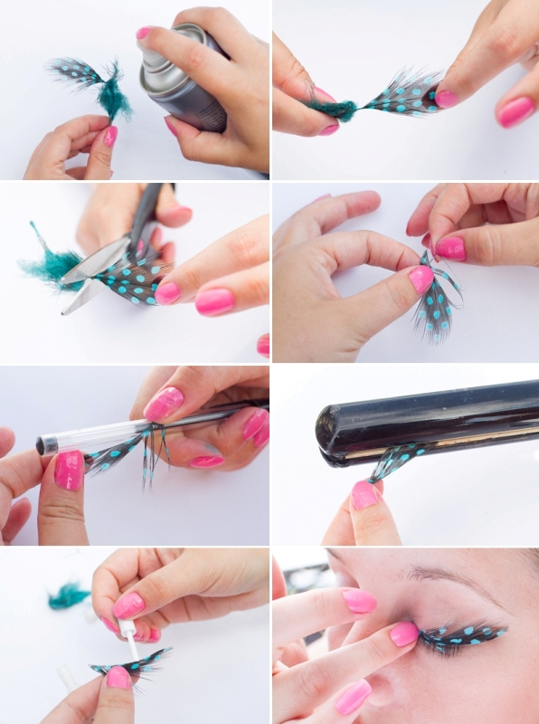 Picture Of bright and whimsy diy feather eyelashes  2