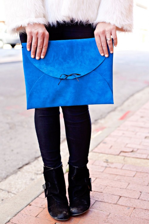 Bright DIY No-Sew Leather Envelope Clutch