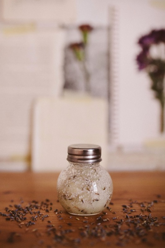 Picture Of calming diy lavender salt scrub  1