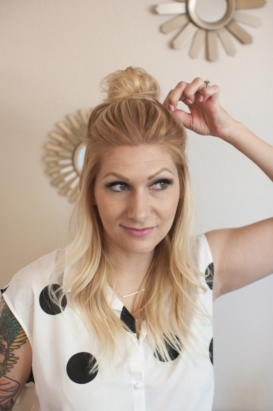 Picture Of casual and celebrities favorite diy top knot hairstyle  1