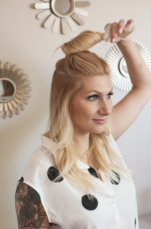 Picture Of casual and celebrities favorite diy top knot hairstyle  6