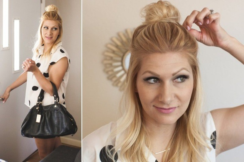 Picture Of casual and celebrities favorite diy top knot hairstyle  8