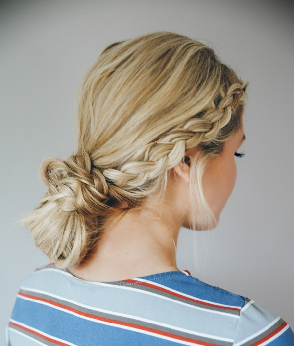 Picture Of casual diy double dutch braid bun hairstyle  1