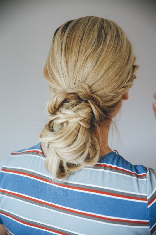 Picture Of casual diy double dutch braid bun hairstyle  2