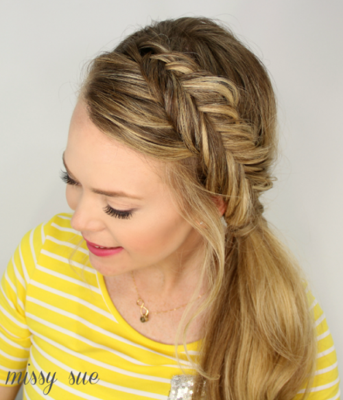 Casual DIY Dutch Fishtail Side Pony Hairstyle