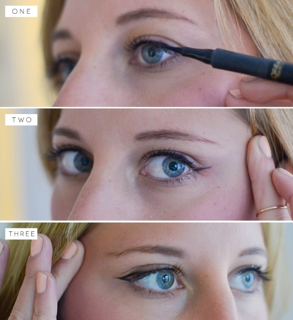 Picture Of charming diy cat eye makeup with a liquid liner  2