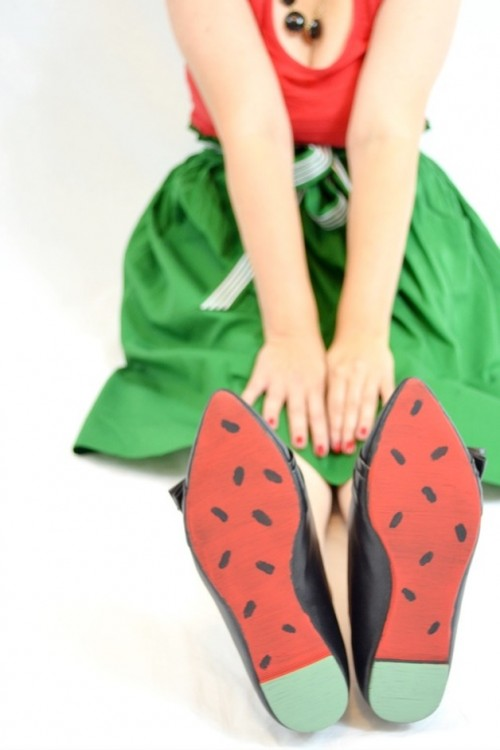 Cheerful And Bold DIY Watermelon Shoes