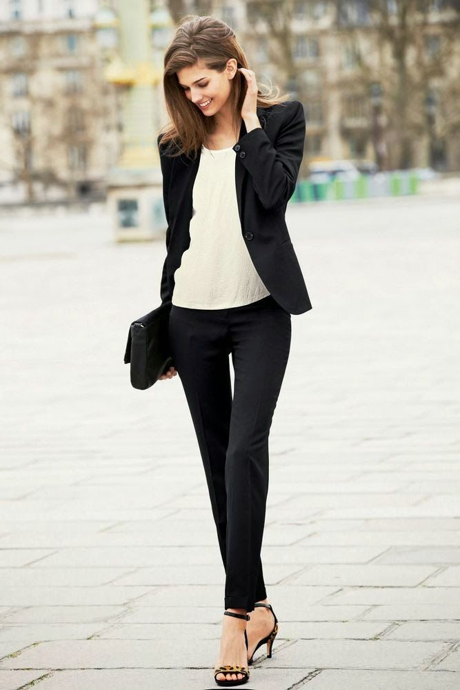 Picture Of chic black and white work outfits for girls  13