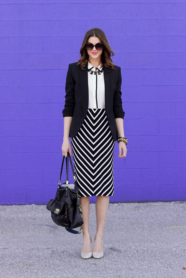 Picture Of chic black and white work outfits for girls  19