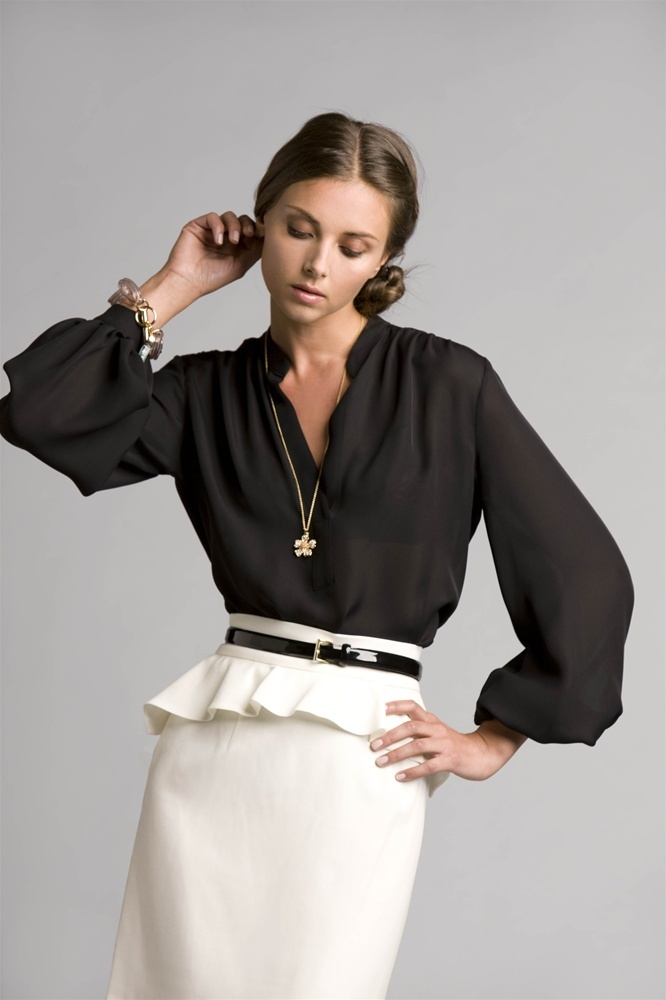 Picture Of chic black and white work outfits for girls  23