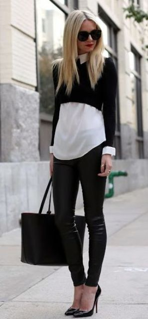 Chic Black And White Work Outfits For Girls