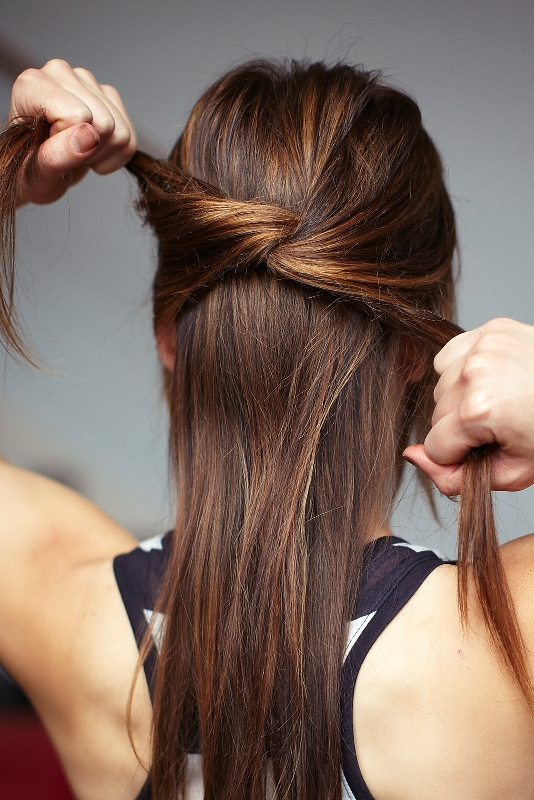 Picture Of chic diy cascading knotted half updo  3