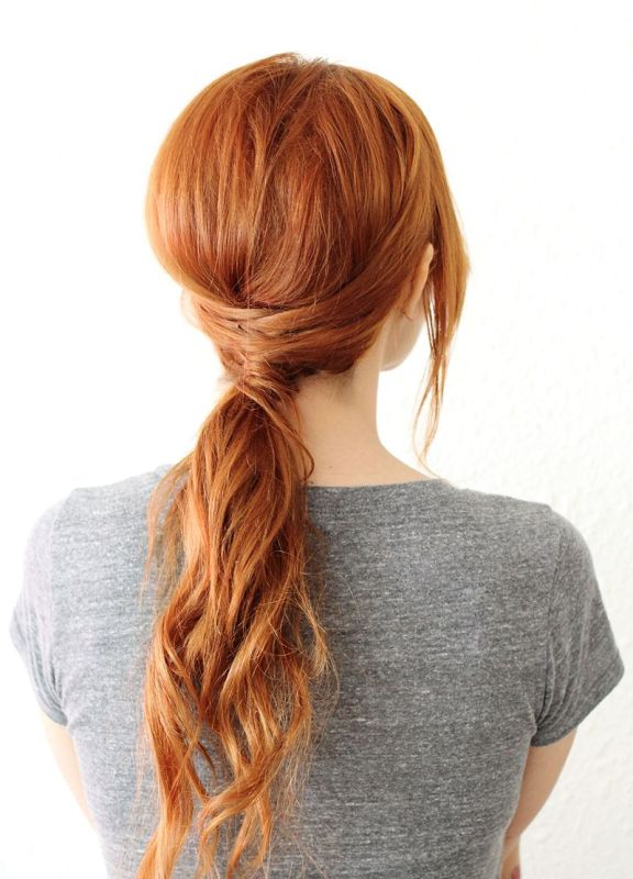 Picture Of chic diy crisscross ponytail hairstyle  3