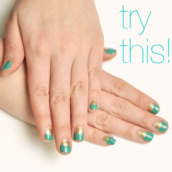 Picture Of chic diy half moon nail art  1