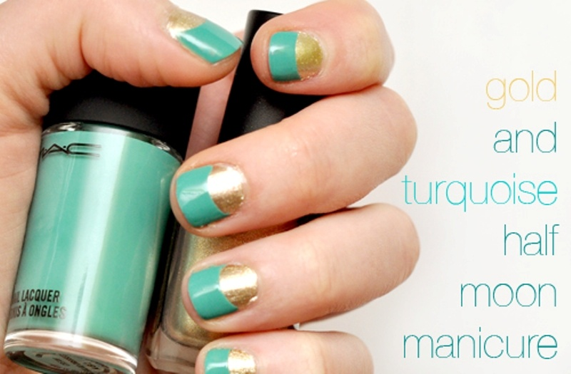 Picture Of chic diy half moon nail art  2