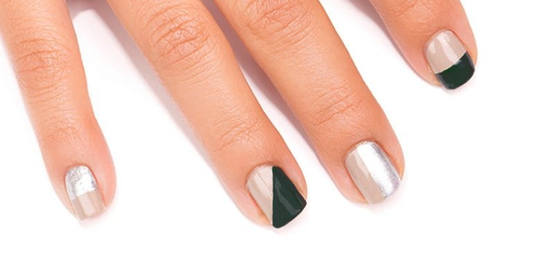 Picture Of classy diy color blocking nail design to make  2