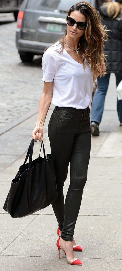Picture Of classy looks with a white t shirt  11