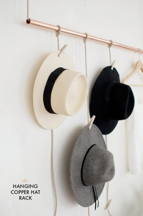 Clever And Creative DIY Hanging Rack For Your Hats