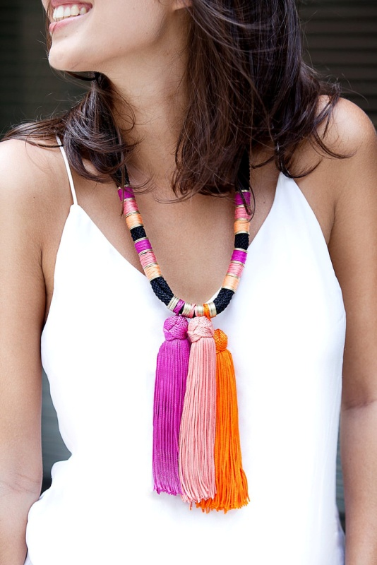 Picture Of colorful and fancy diy summer tassel necklace  1