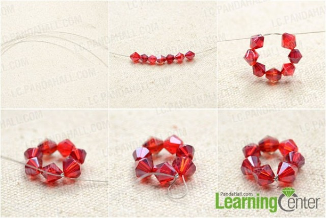 Picture Of colorful diy beaded flower charm bracelet  2