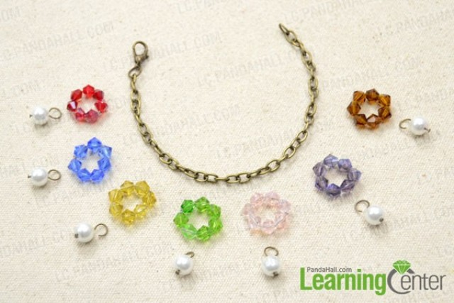 Picture Of colorful diy beaded flower charm bracelet  4