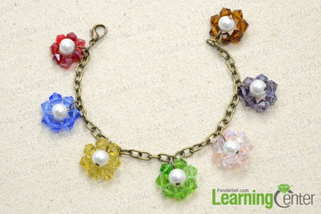 Picture Of colorful diy beaded flower charm bracelet  5