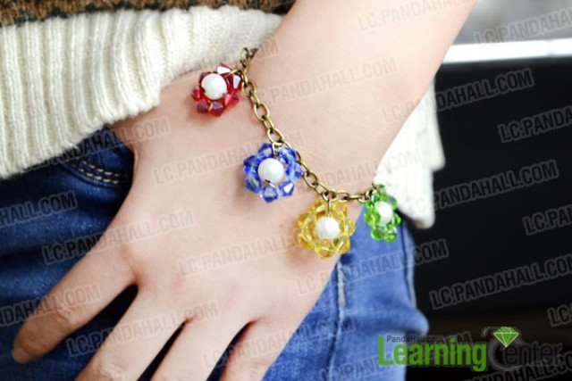 Picture Of colorful diy beaded flower charm bracelet  6
