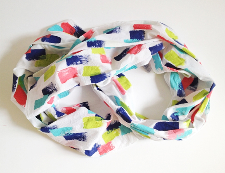 Picture Of colorful diy brush stroke scarf  1