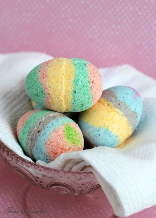 Colorful DIY Easter Egg Bath Bombs With Essential Oils