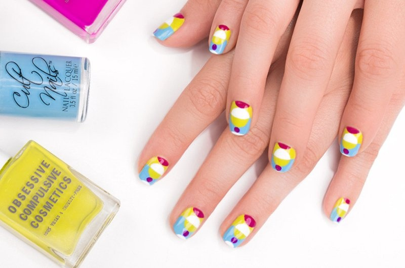 Picture Of colorful diy electric circles nail art to try  1