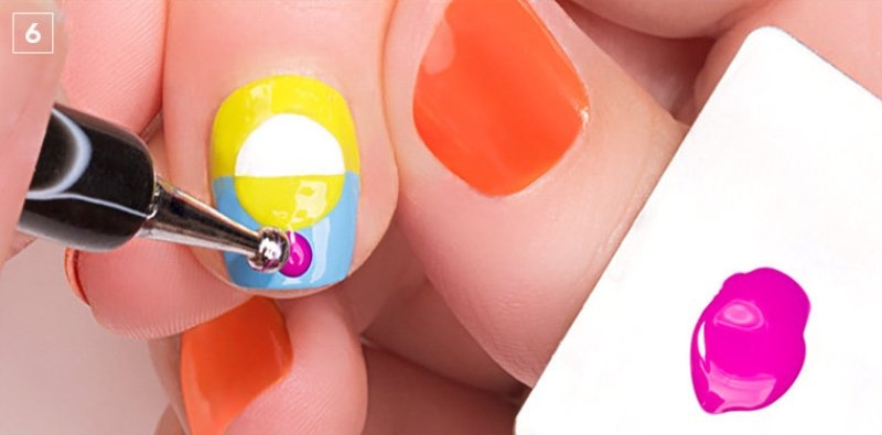 Picture Of colorful diy electric circles nail art to try  6