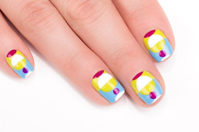 Picture Of colorful diy electric circles nail art to try  8