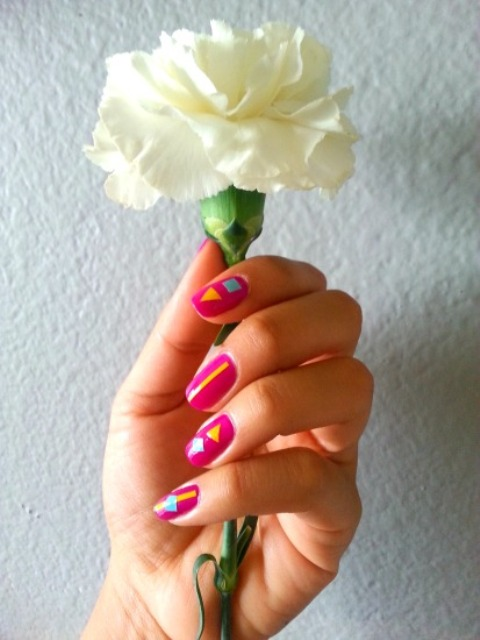 Picture Of colorful diy geometric nail art with contact paper  1