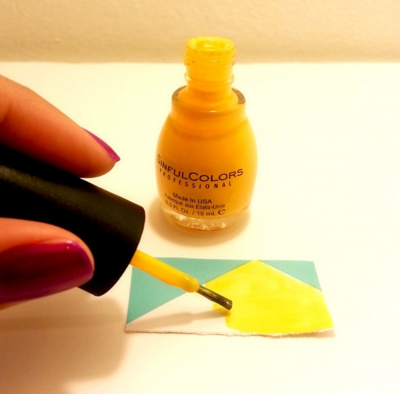 Picture Of colorful diy geometric nail art with contact paper  2