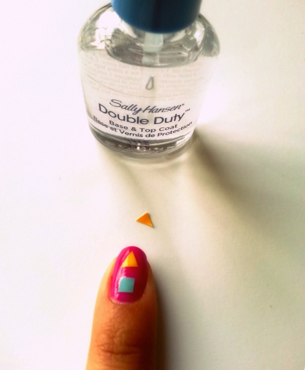 Picture Of colorful diy geometric nail art with contact paper  3
