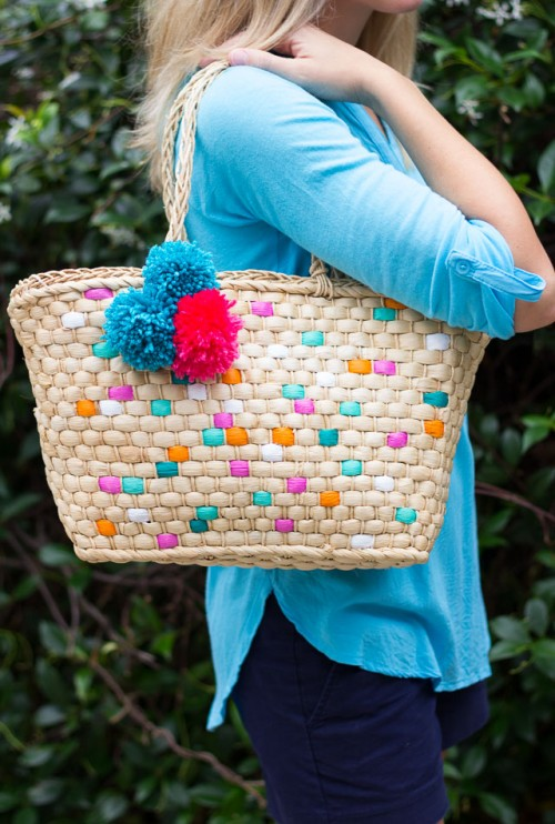 Colorful DIY Painted Straw Tote Bag