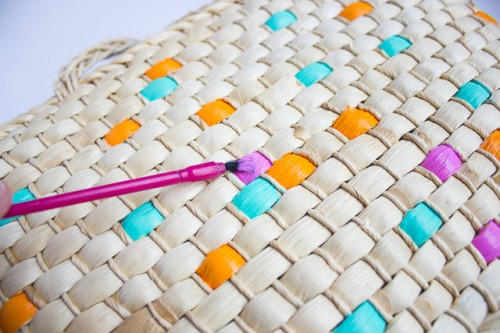 Colorful DIY Painted Straw Tote Bag