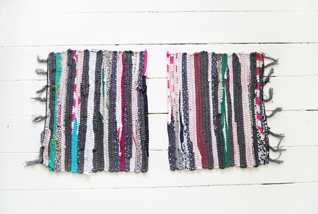 Picture Of colorful diy striped rag rug bag  5