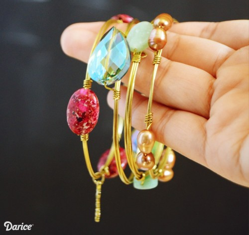 Colorful Stacking DIY Wire Bangles For Summer