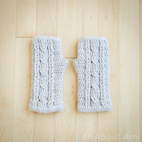 Picture Of comfy diy cable knit wrist warmers  7