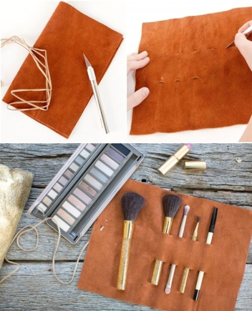 Convenient And Easy DIY Leather Makeup Brush Holder