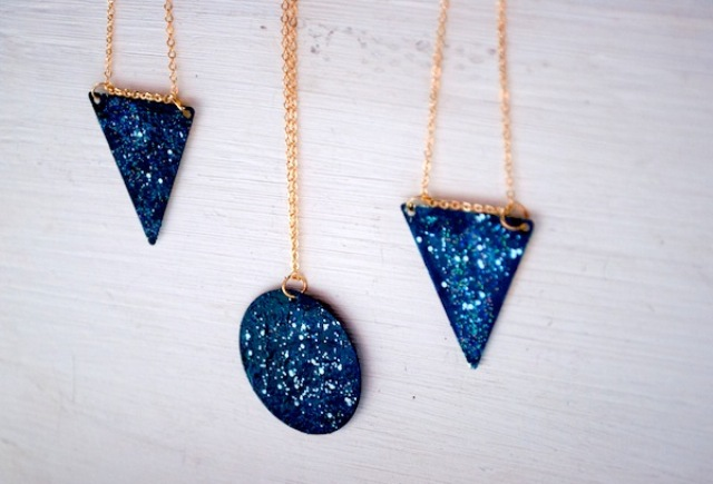 Picture Of cool and easy diy galaxy necklace  8